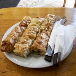 3 long burek on a plate in Belgrade