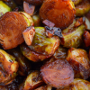 Close up of miso maple roasted brussels sprouts and garlic