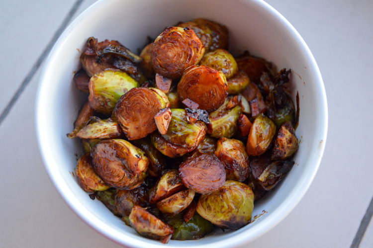 Spicy miso maple roasted brussels sprouts in a bowl