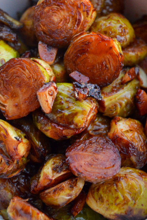 Close up of miso maple roasted brussels sprouts