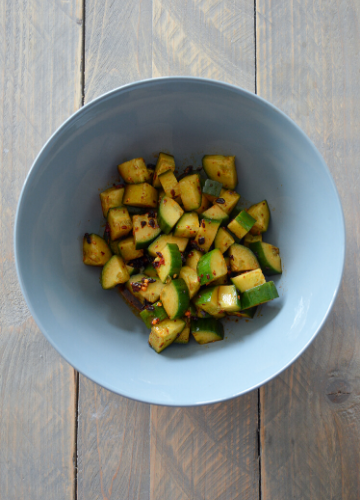 Sichuan cucumber salad in a bowl