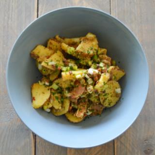 Bowl with German Potato Salad on a table