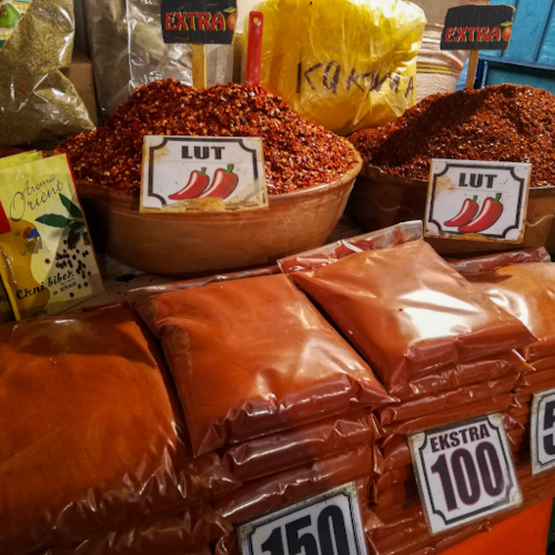 Piles and bags of paprika at the Bit Pazar market in Skope