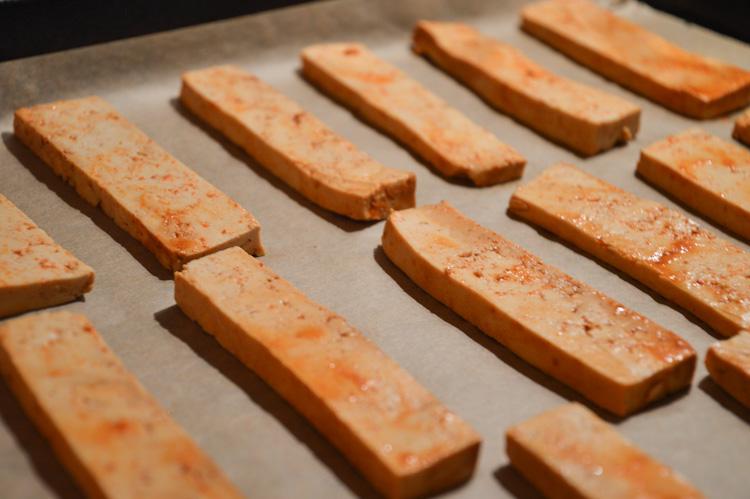 Gochujang tofu on a baking sheet