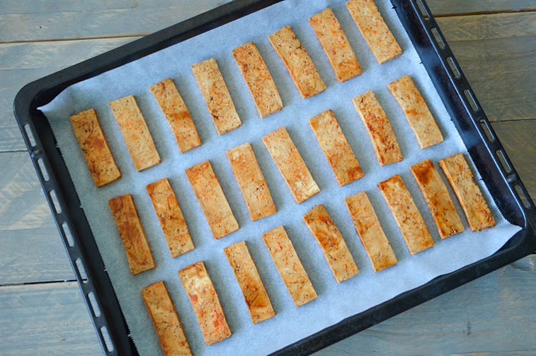 Asian baked tofu on a baking sheet (uncooked)