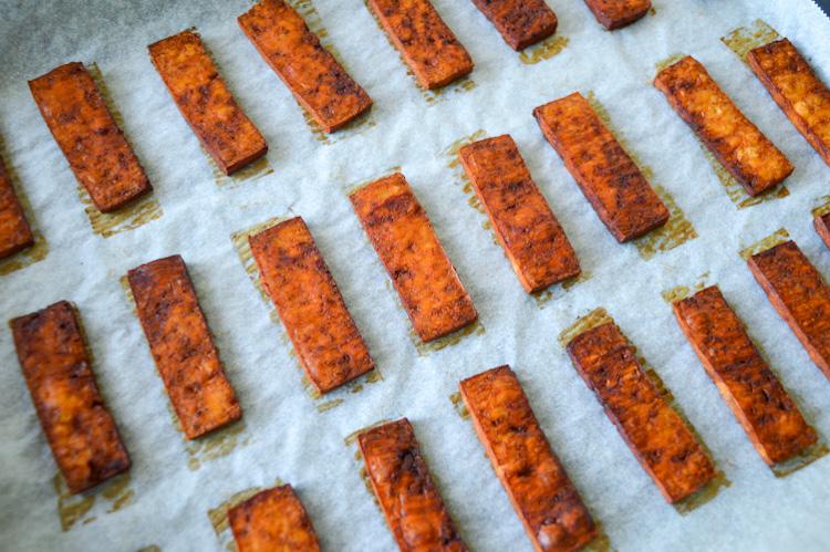 Gochujang tofu (cooked) on a baking sheet