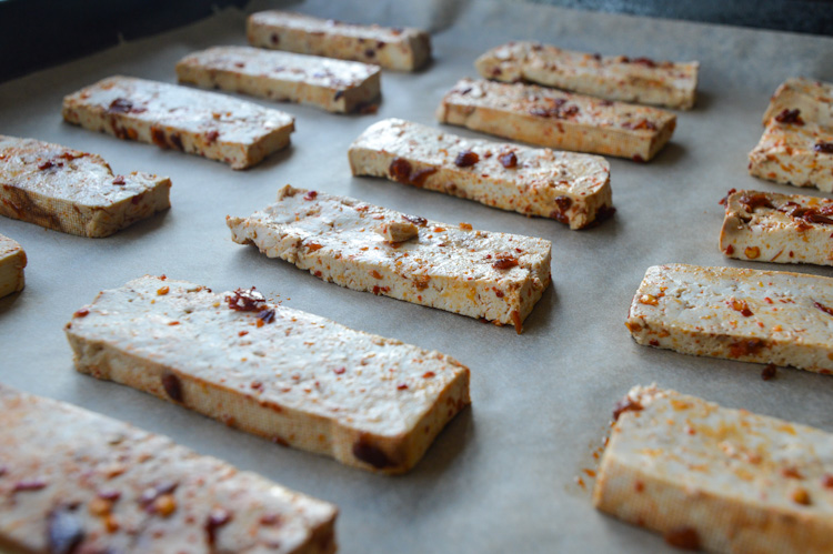 Sichuan tofu on a baking sheet
