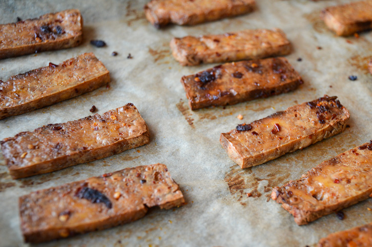 Asian baked tofu - the Sichuan variety - on a baking sheet