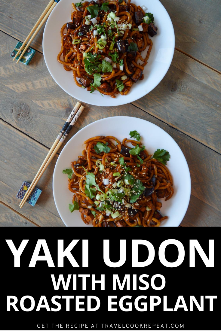 Udon Noodles with Miso Roasted Eggplant (Yaki Udon)