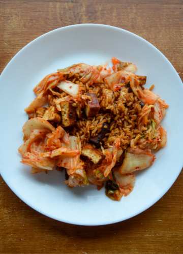 Gochujang fried rice with kimchi on a plate