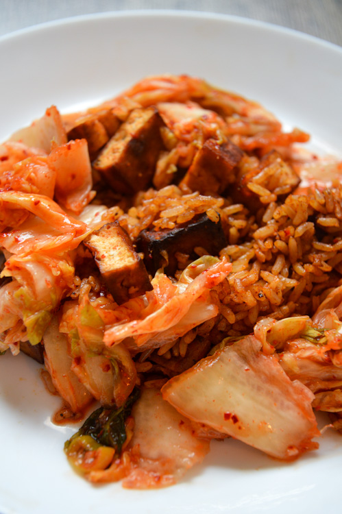 Close up of gochujang fried rice with lots of kimchi and tofu