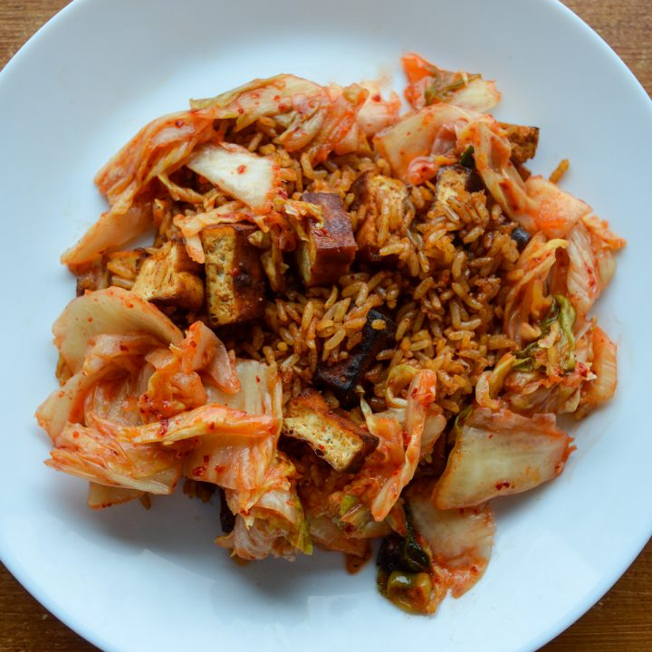 Gochujang fried rice with kimchi and tofu - the fastest dinner