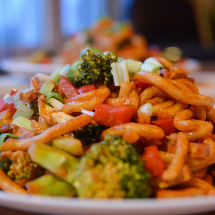 Veggie Udon Noodles: udon stir fry with peanut butter sauce