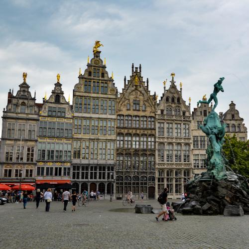 Ornate buildings in the Grote Markt in Antwerp, Belgium