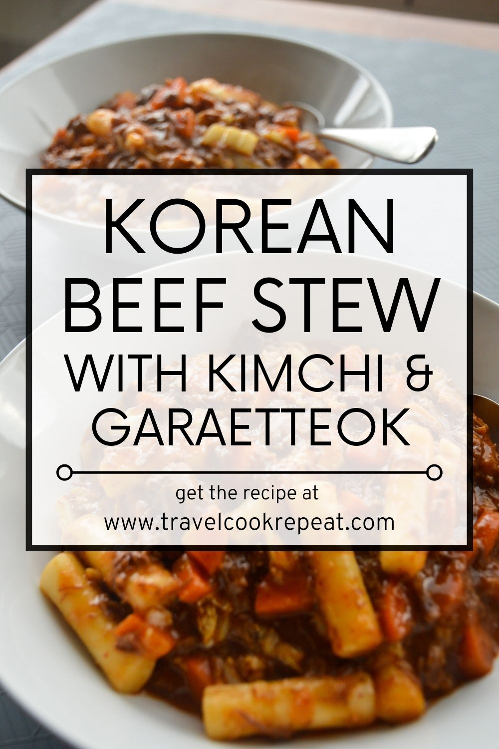 Korean Beef Stew with Rice Cakes and Kimchi