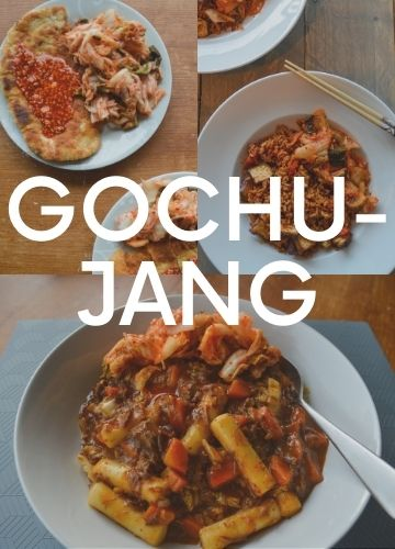 3 pictures of recipes with gochujang; text overlay: gochujang