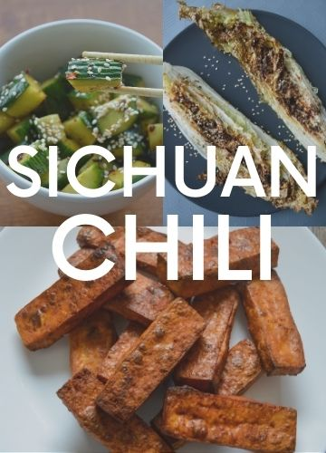 3 pictures of recipes with Sichuan chili; text overlay: Sichuan chili