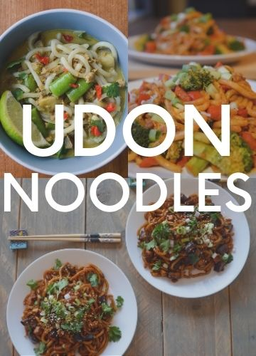 3 pictures of recipes with udon noodles; text overlay: udon noodles