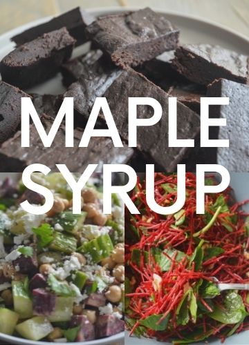 3 pictures of recipes with maple syrup; text overlay: maple syrup